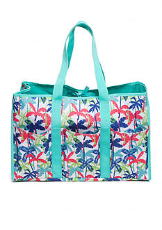 Home Accents® Multi-Pocket Rectangle Palm Tree Beach Tote