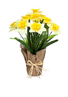 Home Accents® Daffodil Floral Burlap Pot