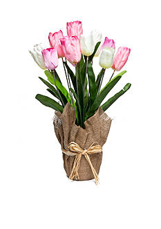 Home Accents Tulip Floral Burlap Pot
