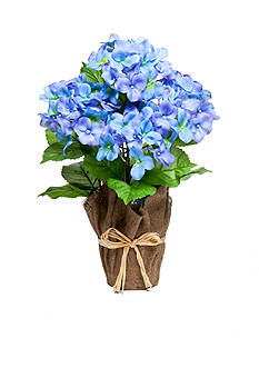 Home Accents® Blue Hydrangea Floral Burlap Pot