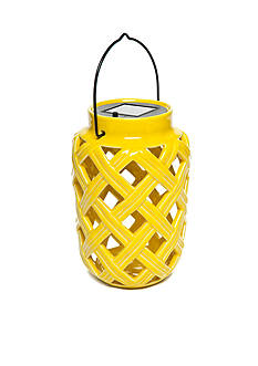 Home Accents® Yellow Ceramic Solar Lantern