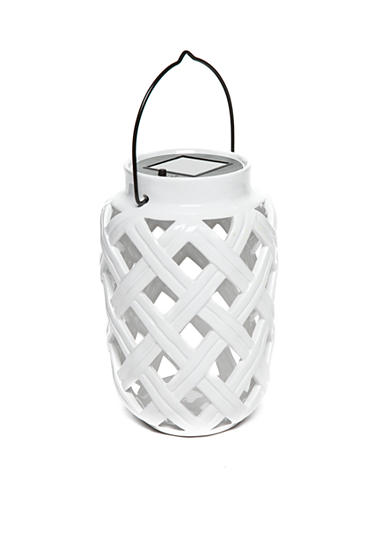 Home Accents® White Ceramic Solar Lantern