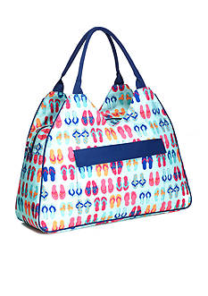 Home Accents® Triangle Tote Beach Bag - Turq Flip Flops