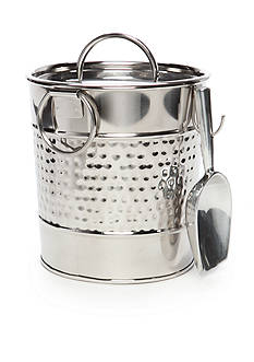 Home Accents Hammered Stainless Ice Bucket with Aluminum Scoop