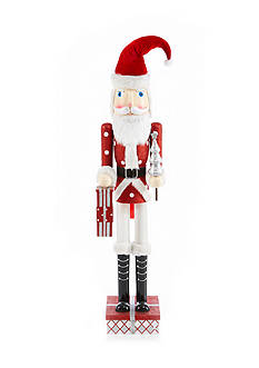 Home Accents Holly Jolly Christmas 4-ft. Santa with Tree and Presents Nutcracker