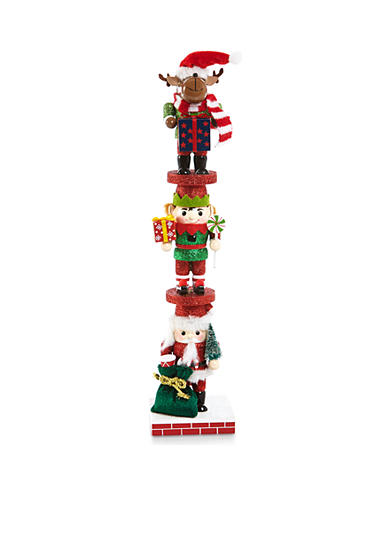 Home Accents® Jingle All the Way Deer, Elf and Santa Stack Nutcracker