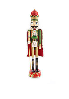 Home Accents Jingle All the Way Red and Green Solider with Cape Nutcracker