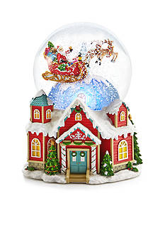 Home Accents® Jingle All the Way Santa Sleigh over House Snow Globe