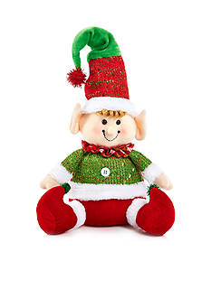 Home Accents Jingle All the Way 6-in. H Red Fabric Sitting Elf Decor