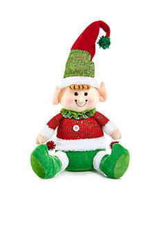 Home Accents Jingle All the Way 6-in. H Green Fabric Sitting Elf Decor