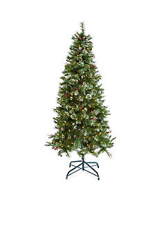 Home Accents® 7.5-ft. Pre-Lit Decorated White Frosted Tree