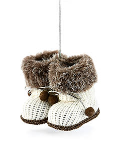 Home Accents Woodland Wonder White Knit Snow Booties Ornament