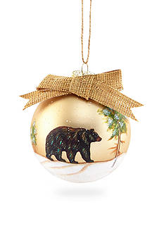 Home Accents Woodland Wonder Black Bear Ball with Bow Ornament