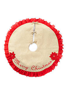Home Accents Woodland Wonder Red and Burlap 3D Poinsettia 'Merry Christmas' Tree Skirt