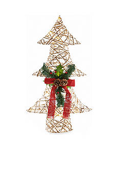 Home Accents Woodland Wonder Large Jute Christmas Tree with Lights Decor
