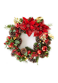 Home Accents® Woodland Wonder 2-ft. Poinsettia Pinecone and Ball Wreath