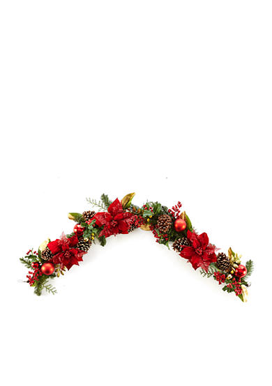 Home Accents® Woodland Wonder 6-ft. Poinsettia Pinecone and Ball Garland