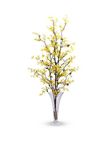 Nearly Natural Forsythia With Vase Silk Flower Arrangement