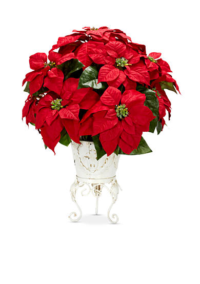 Nearly Natural Poinsettia with Metal Planter Silk Flower Arrangement