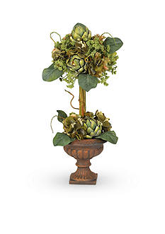 Nearly Natural Artichoke Topiary Silk Flower Arrangement