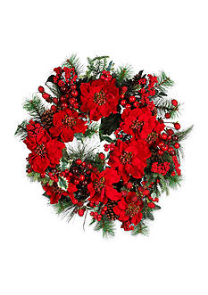 Nearly Natural 24-in. Poinsettia Wreath