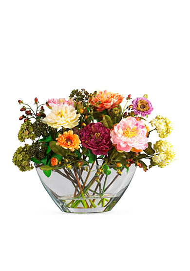 Nearly Natural Peony Silk Flower Arrangement with Glass Vase