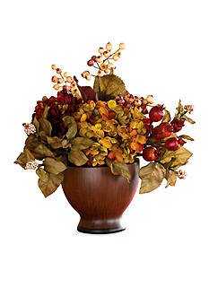 Nearly Natural Autumn Hydrangea w/Round Vase