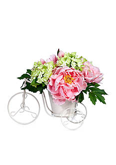 Nearly Natural Peony and Hydrangea Tricycle Silk Flower Arrangement