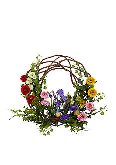 Nearly Natural 22-Inch Spring Floral Wreath