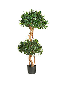 Nearly Natural 4-Foot Sweet Bay Double Ball Topiary Silk Tree