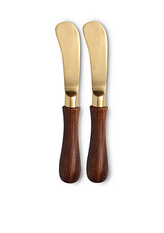 Thirstystone S/2 Gold Finish Spreaders with Wood Handles