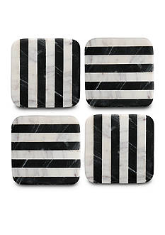 Thirstystone Old Hollywood Black and White Striped Square Marble Coasters