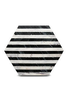 Thirstystone Black and White Striped Hexagon Marble Trivet
