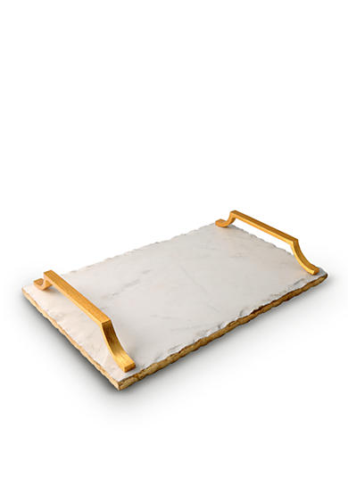 Thirstystone Marble Serving Tray w/ Gold Art Deco Handles
