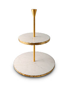 Thirstystone Old Hollywood Gold and White Marble Dessert Stand