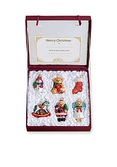 Old World Christmas 6-Piece Set Childs First Christmas Collection Glass Ornaments