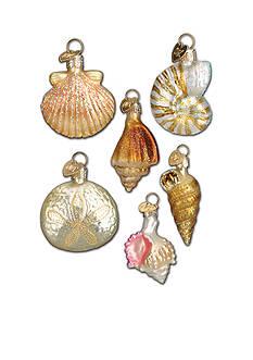 Old World Christmas Set of 6 Glass Sea Shell Ornaments