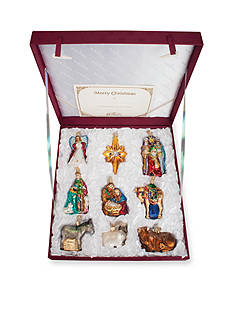 Old World Christmas 9-Piece Nativity Collection Of Glass Ornaments