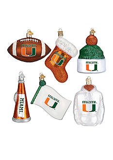 Old World Christmas 6-Piece University of Miami Ornament Set