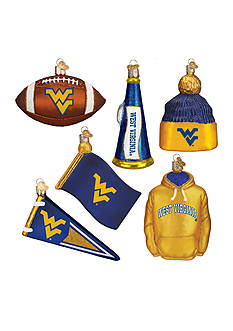 Old World Christmas 6-Piece University of West Virginia Ornament Set