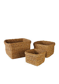 Napa Home & Garden™ Seagrass Set of 3 Square Baskets with Cuffs