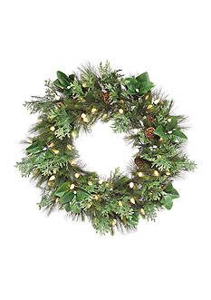 36-in. Grand Pine and Magnolia Lighted Wreath