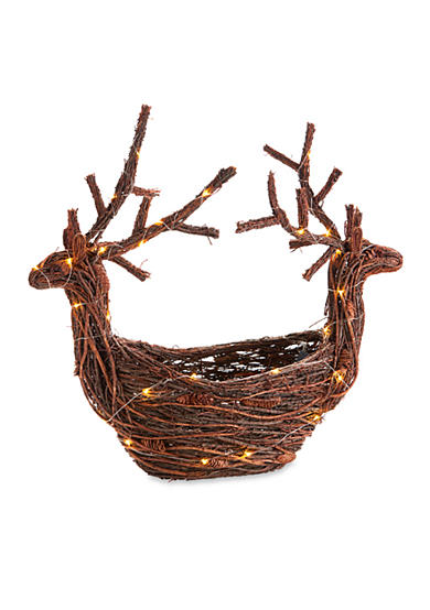 Napa Home & Garden™ 25-in. H Twig and Pine Cone Lighted Reindeer Planter Basket