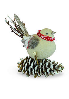 Shea's Wildflower Company 7-in. Country Christmas Bird on Pinecone