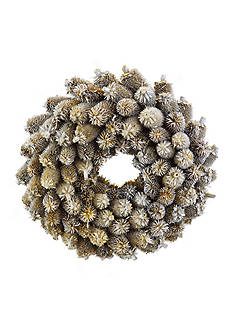Shea's Wildflower Company 15-in. Glitter Natural Thistle Wreath