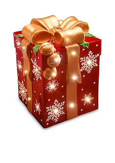 National Tree Company Red Gift Box with Gold Bow And White Snowflakes