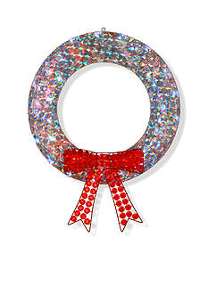 National Tree Company Ice Crystal Wreath With Red Bow And LED Lights