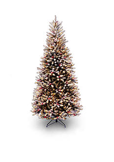 National Tree Company 7.5-ft. Dunhill Fir Slim Hinged Tree With Snow, Red Berries, and Cones