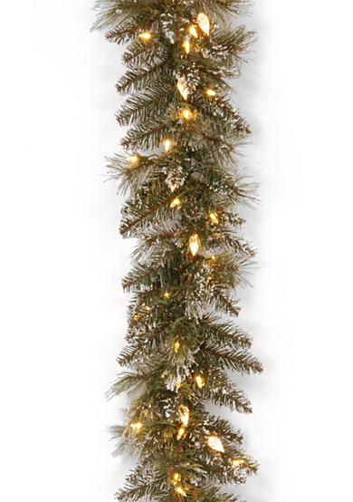 National Tree Company® Glittery Bristle Pine Garland With LED Lights