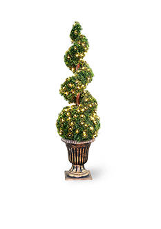 National Tree Company Cedar Spiral Tree With Ball In A Black & Gold Urn With 150 Clear Lights